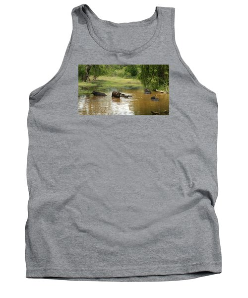 Tank Top featuring the photograph Buffalos by Christian Zesewitz