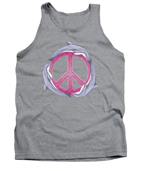 Dolphin Peace Pink Tank Top by Chris MacDonald
