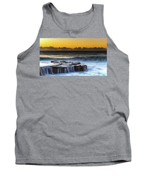 Sunrise Seascape With Cascades Over The Rock Ledge Tank Top