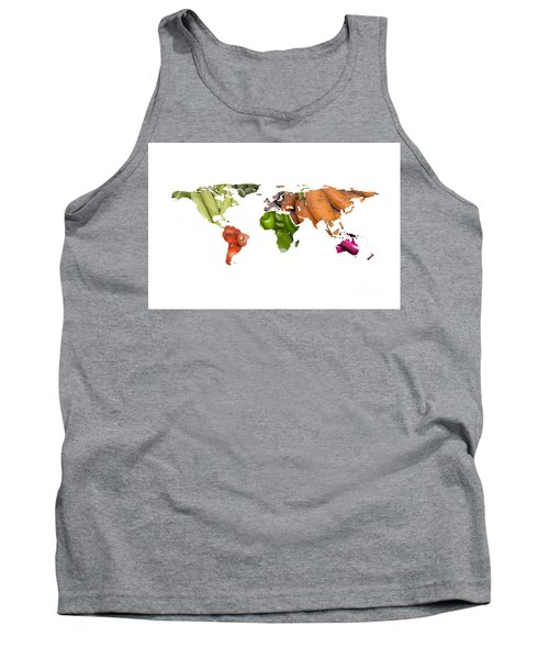 World Fruits Vegetables Map Tank Top