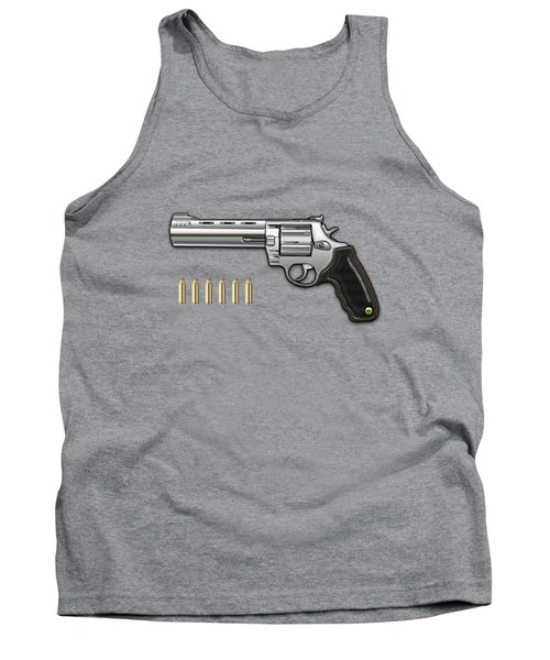 .44 Magnum Colt Anaconda With Ammo On Brown Velvet  Tank Top
