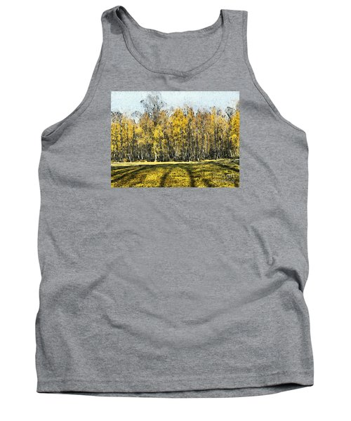 Watercolor Landscape Autumn Painting Forest Tank Top by Odon Czintos
