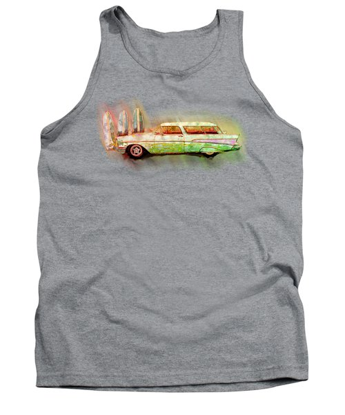 57 Chevy Nomad Wagon Blowing Beach Sand Tank Top