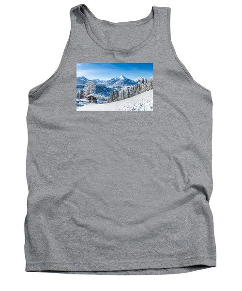 Snowy Landscape In The Alps Tank Top