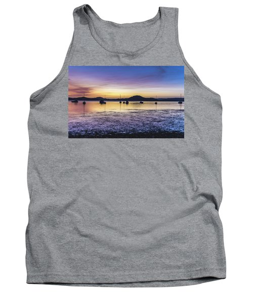 Dawn Waterscape Over The Bay With Boats Tank Top