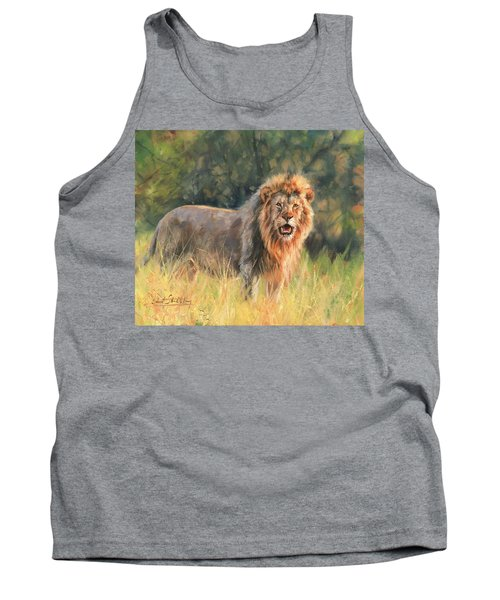 Tank Top featuring the painting Lion by David Stribbling