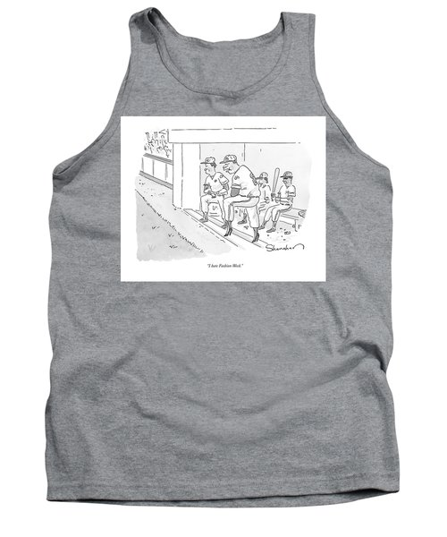 A Baseball Player Leans Out Of The Dugout Tank Top