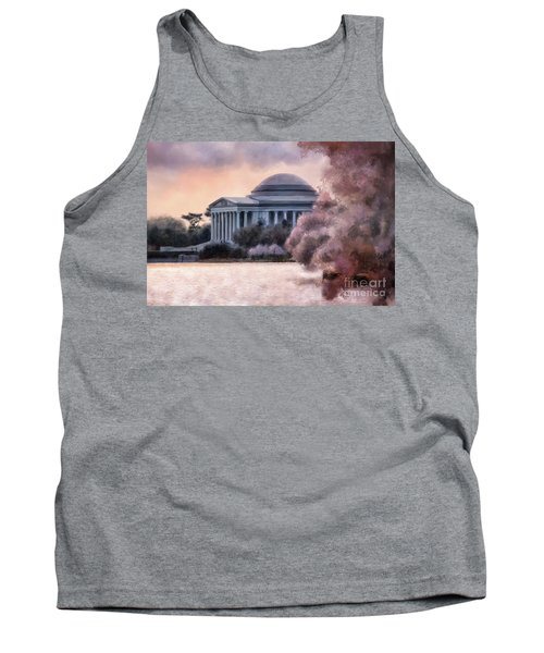 Tank Top featuring the digital art A Cherry Blossom Dawn by Lois Bryan