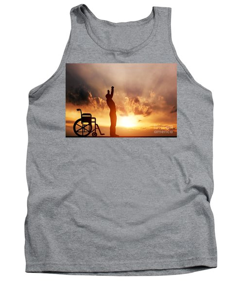 A Disabled Man Standing Up From Wheelchair Tank Top