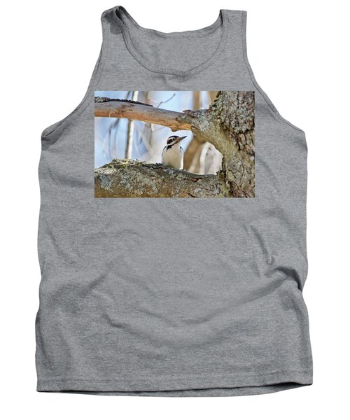 Tank Top featuring the photograph A Male Downey Woodpecker  1111 by Michael Peychich