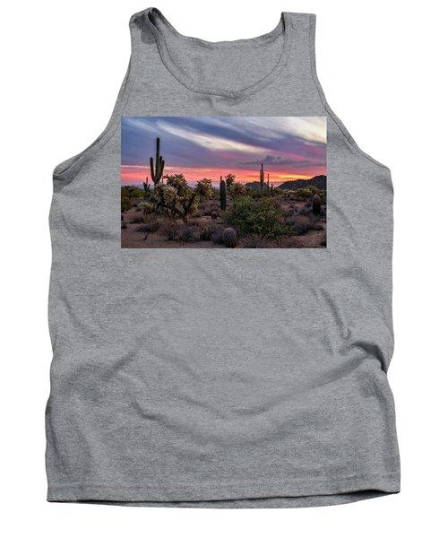 Tank Top featuring the photograph A Pink Kissed Desert Sunset  by Saija Lehtonen