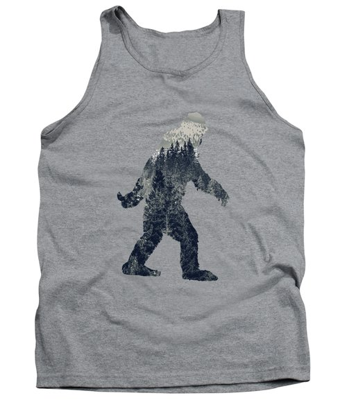 A Sasquatch Bigfoot Silhouette Hiking The Tundra Deep Forest Tank Top