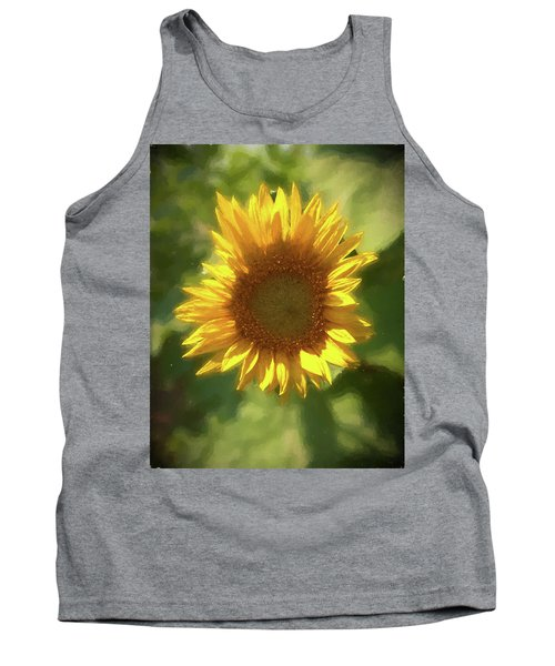 A Single Sunflower Showing It's Beautiful Yellow Color Tank Top