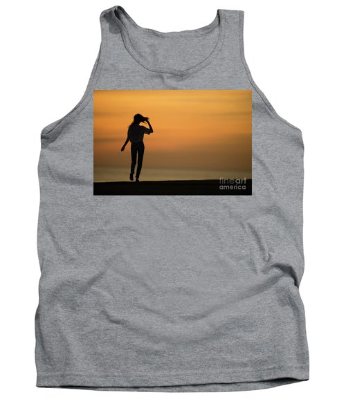 A Slim Woman Walking At Sunset Tank Top