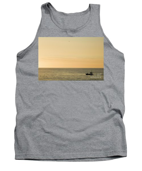 A Small Fishing Boat In Sunset Over Cardigan Bay Aberystwyth Ceredigion West Wales Tank Top