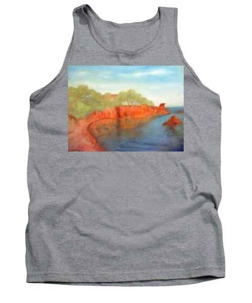 A Small Inlet Bay With Red Orange Rocks Tank Top