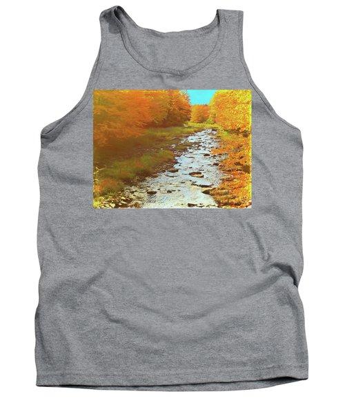 A Small Stream Bright Fall Color. Tank Top