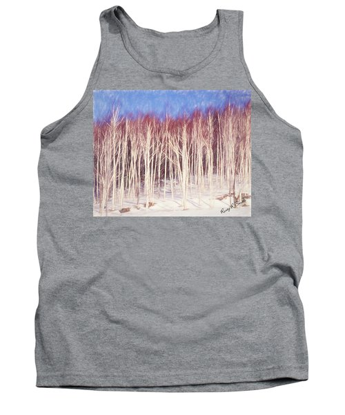 A Stand Of White Birch Trees In Winter. Tank Top