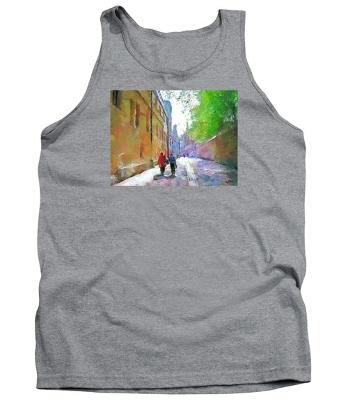 Tank Top featuring the painting A Stroll In The Alley by Wayne Pascall