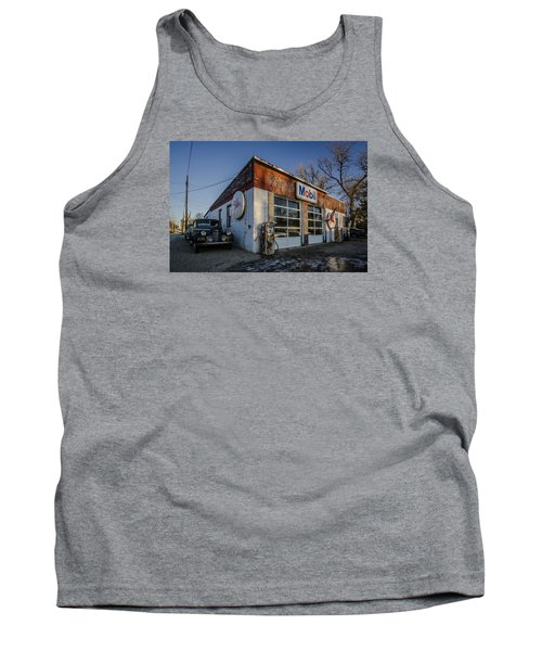 A Vintage Gas Station And Vintage Cars In Early Morning Light Tank Top