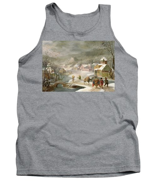 A Winter Landscape With Travellers On A Path Tank Top by Denys van Alsloot