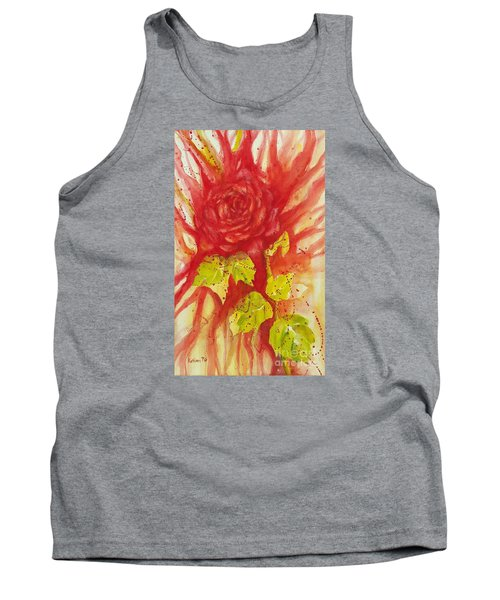 Tank Top featuring the painting A Wounded Rose by Kathleen Pio