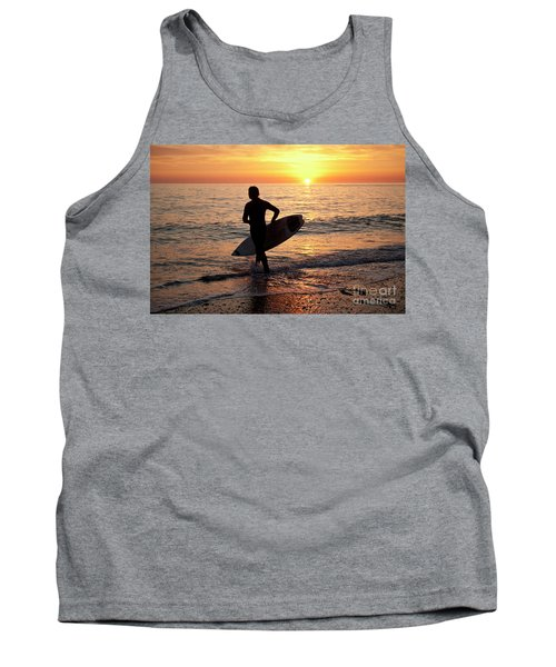 A Young Man Surfing At Sunset Off Aberystwyth Beach, Wales Uk Tank Top