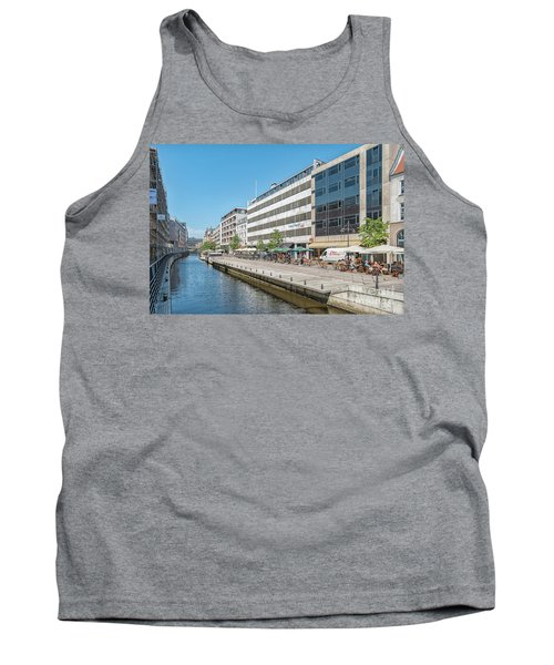 Tank Top featuring the photograph Aarhus Canal Activity by Antony McAulay