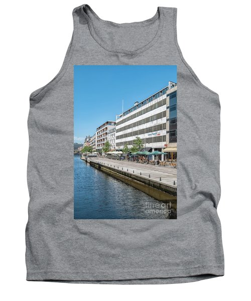Tank Top featuring the photograph Aarhus Canal Scene by Antony McAulay