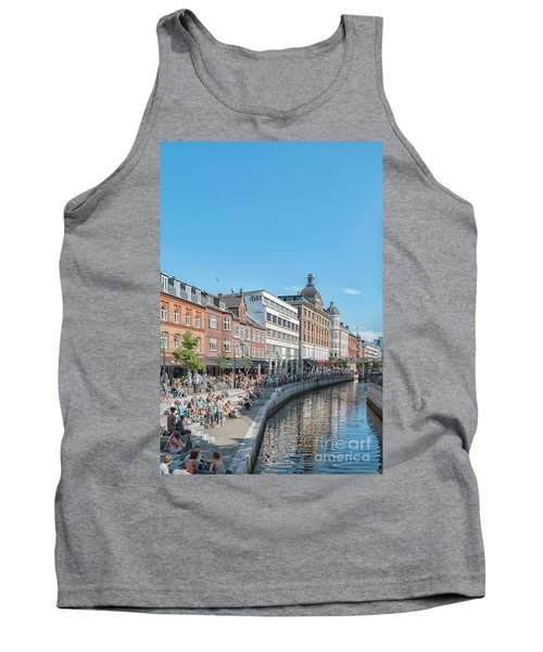 Tank Top featuring the photograph Aarhus Summertime Canal Scene by Antony McAulay