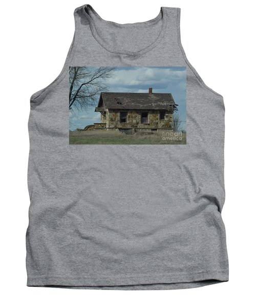Tank Top featuring the photograph Abandoned Kansas Stone House by Mark McReynolds