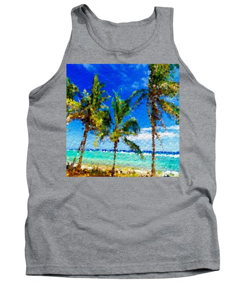 Abstract Beach Palmettos Tank Top by Anthony Fishburne