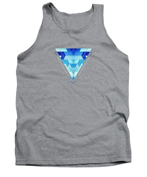 Abstract Geometric Triangle Pattern Futuristic Future Symmetry In Ice Blue Tank Top