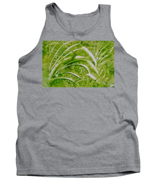 Abstract Green And White Leaves And Grass Tank Top