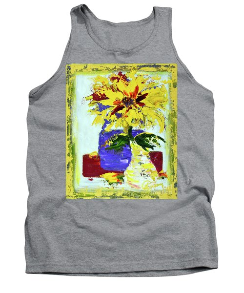 Abstract Sunflower Tank Top by Lynda Cookson