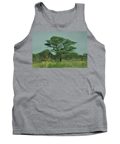 Tank Top featuring the digital art Acacia Tree And Termite Hills by Ernie Echols