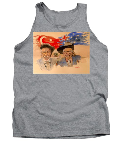 Tank Top featuring the painting Adil Sahin And Len Hall by Ray Agius