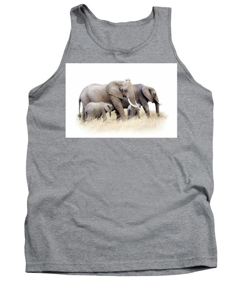 African Elephant Group Isolated Tank Top