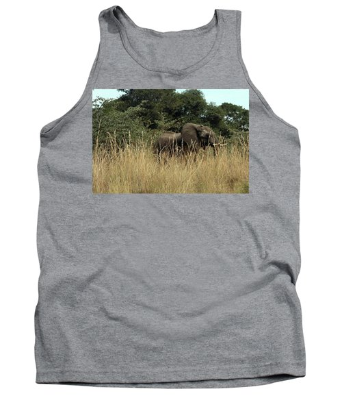 African Elephant In Tall Grass Tank Top