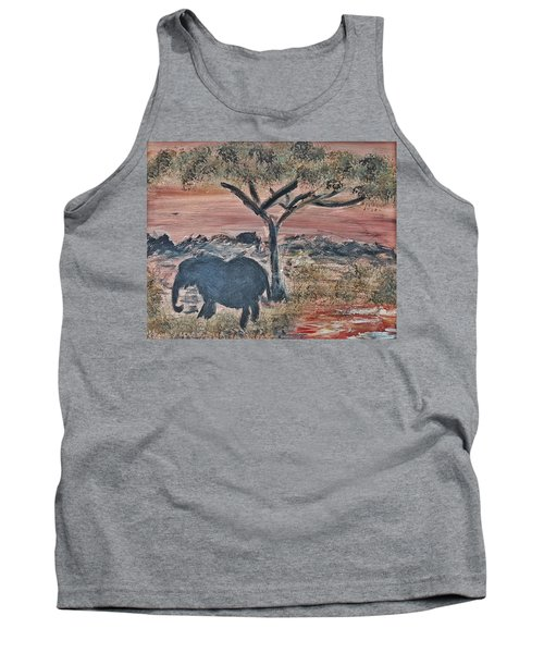 African Landscape With Elephant And Banya Tree At Watering Hole With Mountain And Sunset Grasses Shr Tank Top
