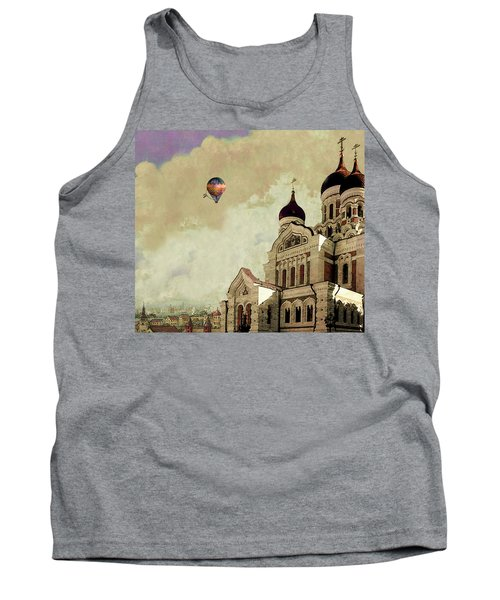 Tank Top featuring the digital art Alexander Nevsky Cathedral In Tallin, Estonia, My Memory. by Jeff Burgess