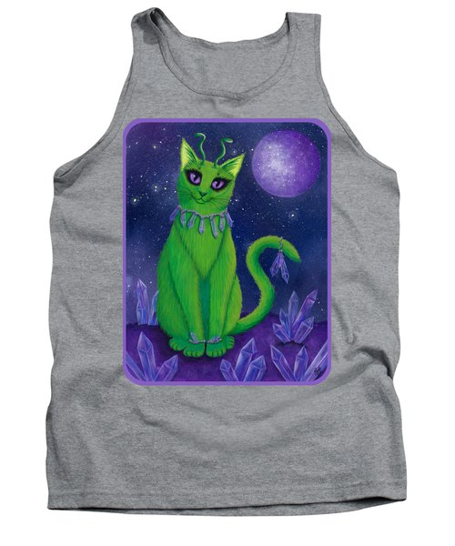 Tank Top featuring the painting Alien Cat by Carrie Hawks