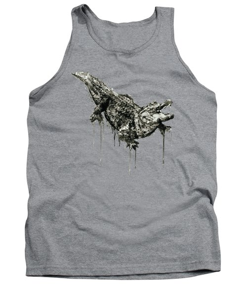 Alligator Black And White Tank Top by Marian Voicu