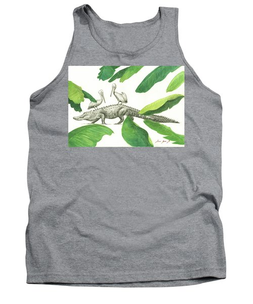 Alligator With Pelicans Tank Top by Juan Bosco