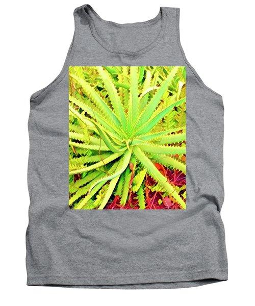 Aloha Aloe In Puna In Lime Tank Top