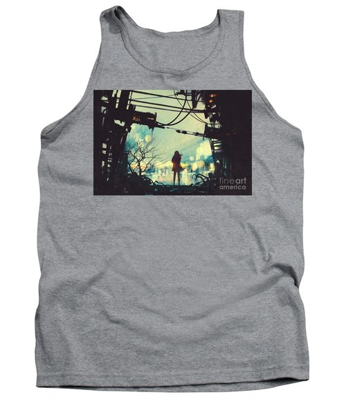 Tank Top featuring the painting Alone In The Abandoned Town#2 by Tithi Luadthong