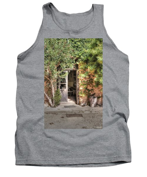 Tank Top featuring the photograph An Entrance In Santorini by Tom Prendergast