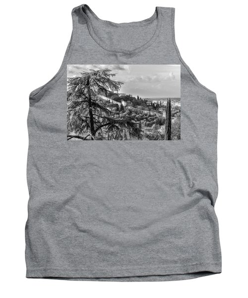 Tank Top featuring the photograph Ancient Walls Of Florence-bandw by Sonny Marcyan