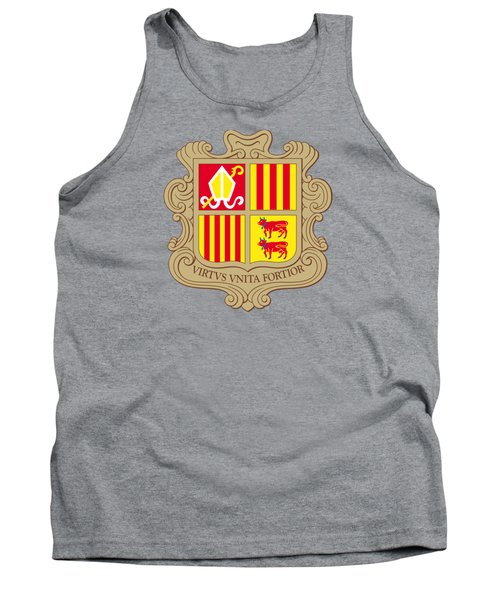 Tank Top featuring the drawing Andorra Coat Of Arms by Movie Poster Prints