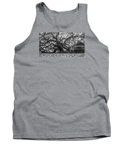 Angel Oak Tree Black And White  Tank Top